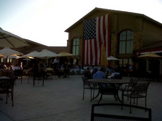 On the patio deck outside Monte de Oro winery awaiting a free concert.