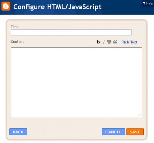 The Configure HTML/Javascript box.