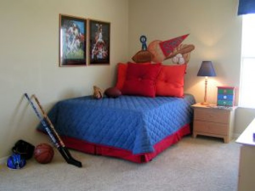 A traditional bedroom for a sporty boy