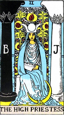 The High Priestess bids you to look inward for guidance.