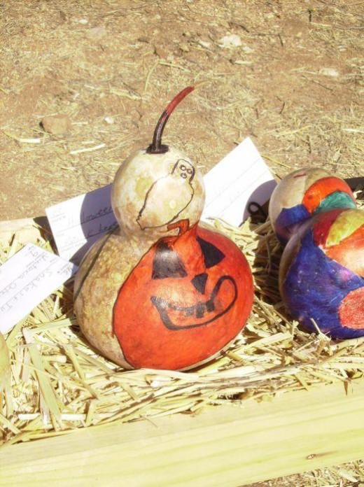 Gourd Decorated Halloween Pumpkin