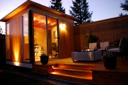 A nicely lighted Upgraded Cabana complemented by an adjoining deck.