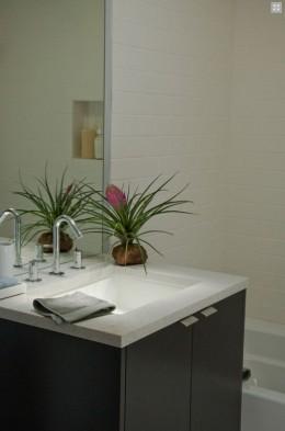 Contemporary fixtures in this Studio Cabana's bathroom.