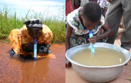Children drinking out of a $3 to $5 lifestraw which will last them for a year