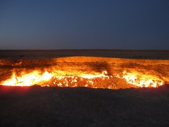The Door to Hell ~ Flaming Gas Crater in Darvaza, Turkmenistan (formerly USSR or Russia)
