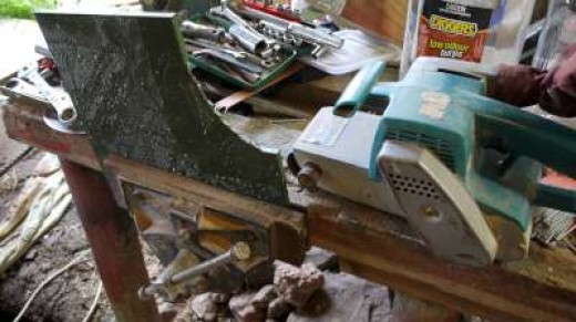 7. Surprisingly, a belt sander and a coarse belt will further shape the cut.