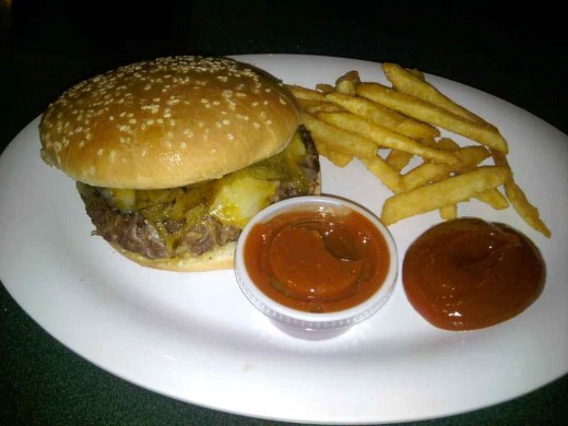 This is the best cheeseburger you will ever find!  Moist and juicy, cooked to perfection and topped with roasted Angel Fire chili pepper....absolutely heaven!