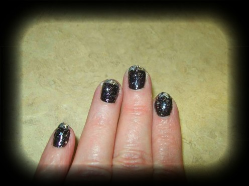 Black & silver French manicure.