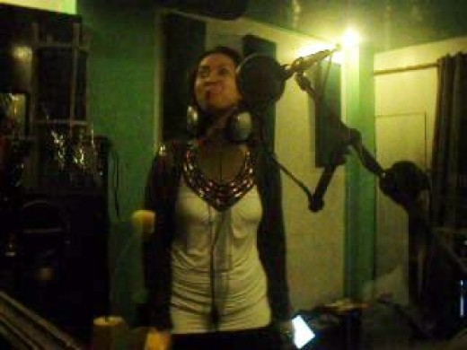 In one of Amihan's recording sessions at Solidbrown Studio.