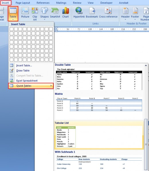How to create a table or change table design in microsoft for Table design on word