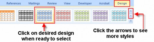 Microsoft Word Table Color and Style