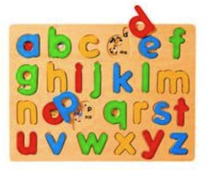 This puzzle can help a child learn to recognize the lower case letters and their order in the alphabet.