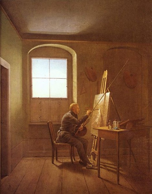 Portrait of painter Caspar David Friedrich in his (artist's) workshop