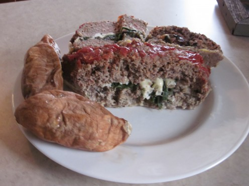 Stuffed Meatloaf with Baked Sweet Potatoes