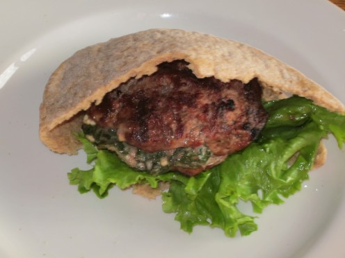 Feta Cheese and Spinach Stuffed Pita Burgers