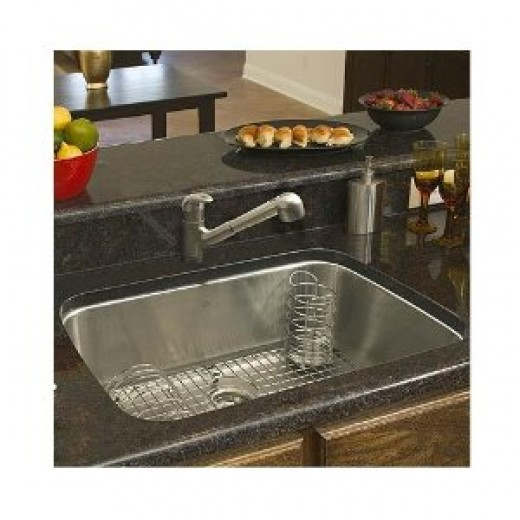 A Franke USA Large Single Bowl Stainless Steel Undermount Kitchen Sink. Imagine this sink installed in a laminate countertop!