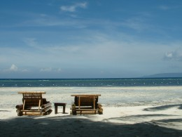 Beach chairs at Ananyana Beach Resort, Bohol, Philippines and not far from Cebu. Copyright Rod Martin, Jr.