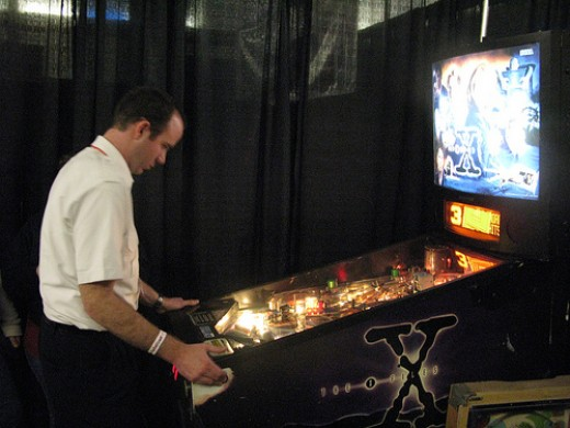 Somebody playing my old Sega X-Files at the 2010 TPF.  Shortly after this the game burned down, fell over, and sank into the swamp.