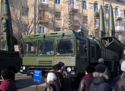 """Transporter erector launcher """"Iskander-E"""" with two missiles and """"Tochka-U"""" launcher (background). 2 Feb 2008"""
