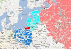 Northeast Europe. Red - Kaliningrad Oblast; Light Red: Russia Proper; Light Blue: Lithuania, Latvia, Estonia; Blue: Poland.
