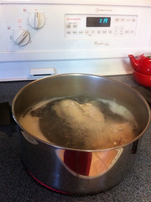 Boil your chicken without seasonings to make it tender