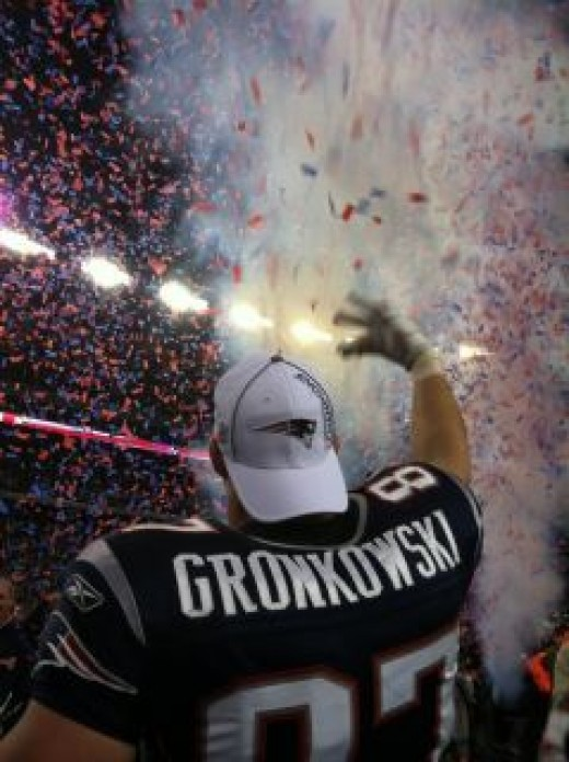 Gronkowski celebrates after the Patriots secure the 2012 AFC championship and head to Indianapolis to Super Bowl XLVI.