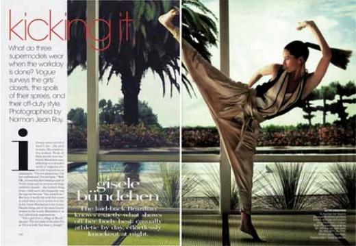 Super model Gisele Bundchen doing a high kick.