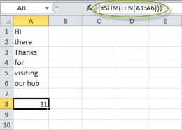Counting characters in multiple cells