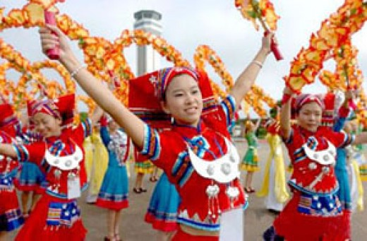The folk dance of Zhuang minor group
