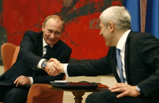Boris Tadić and Vladimir Putin laughing their a$$es off at a joke told by the Serbian President