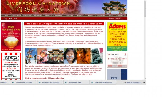 The web page of Liverpool's China Town