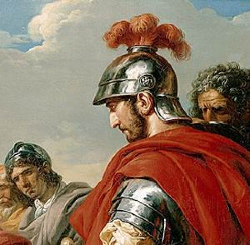 A painting of the legend General Belisarius wearing Roman armour.