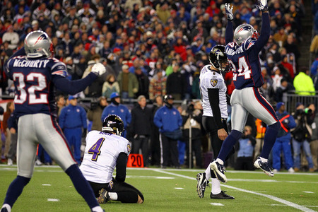 Patriots defensive backs Antwaun Moldin and Devin McCourty celebrate after Billy Cundiff misses a 32 yard field goal with seconds remaining catapulting the Patriots to their 5th AFC title since 2001.