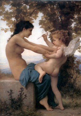 A young woman fighting off Eros, by Adolphe-William Bouguerau, 1880