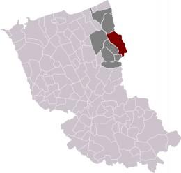 Map location of Hondschoote, Dunkirk 'arrondissement'.