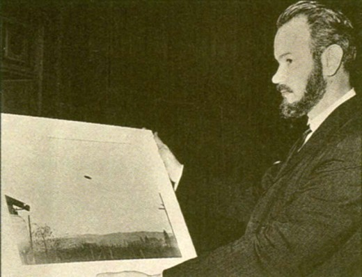Early Picture of John Keel with Famous McMinnville UFO Photograph of May 11, 1950