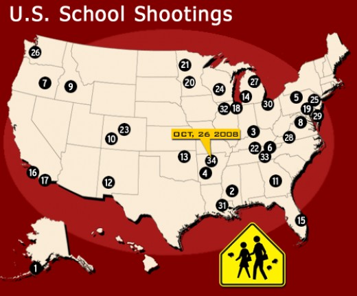 School shootings, interactive map at http://www.cbsnews.com/htdocs/guns_in_america/html/framesource_schoolmap.html