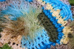 FREEFORM CROCHET IN BLUE AND GREEN by Jprescott DESCRIPTIONDetail of freeform crochet scarf