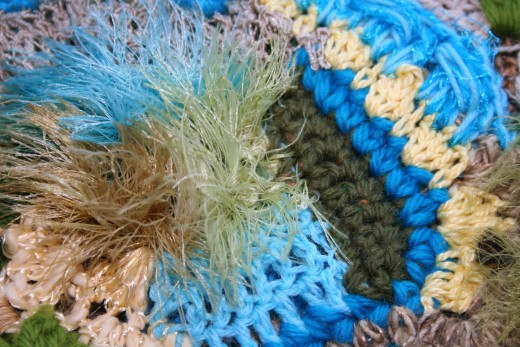 FREEFORM CROCHET IN BLUE AND GREEN by Jprescott DESCRIPTIONDetail of freeform crochet scarf