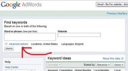 The keyword tool on Google AdWords