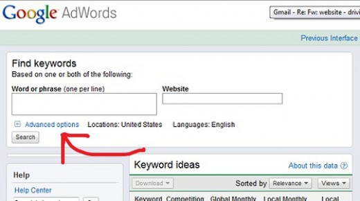 The keyword tool on Google AdWords