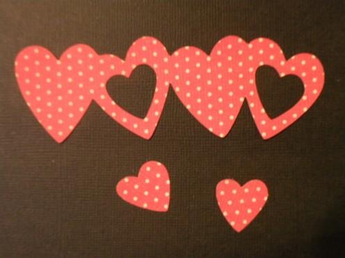 Hearts border cutout Red Polkadot cardstock