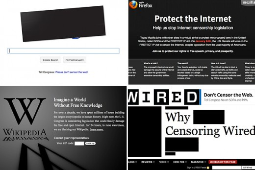 Jan. 18th protest blackout screens of Google, Firefox, Wikipedia, Wired