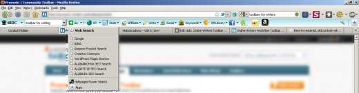 Full view of Online Writers Toolbar with Custom Search Drop Down (click for full size)