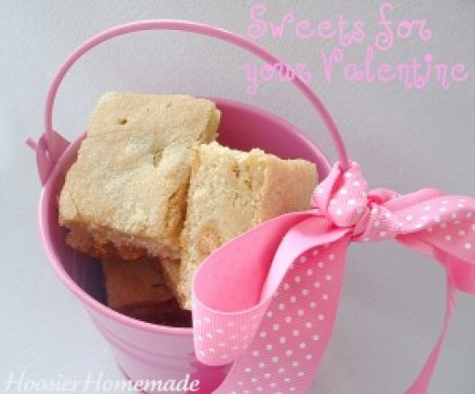 Blond Brownies in a painted bucket. Bucket can be used as pencil holder after eating treat.