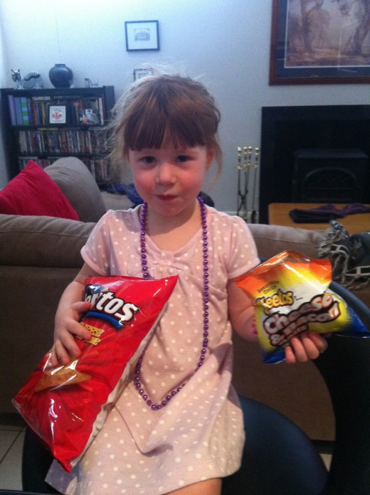 My daughter with her favourite PepsiCo crisps