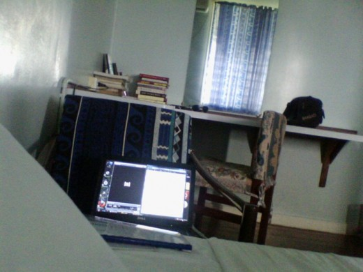 In My room back in college