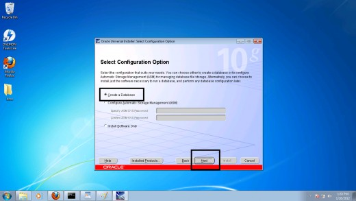 Step 6: Selecting a configuration option