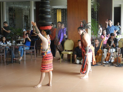 Tribal dances adorned the restaurant area.