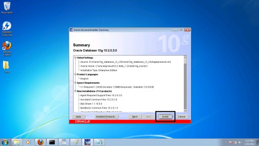Step 13: Starting the Oracle 10g installation on Windows 7
